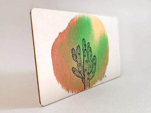 Peinture Originale sur Bois 'Cactus' I Petit format