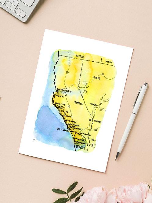 Carte 'Californie' / Carte postale A6 10x15