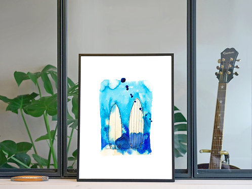 Illustration 'Surf, dans le vif' / Affiche 30x40