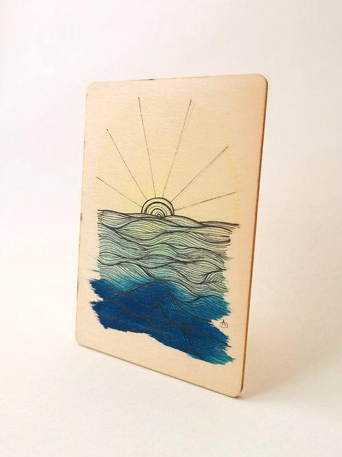 Peinture Originale sur Bois 'Lever du soleil sur la mer' I Petit format