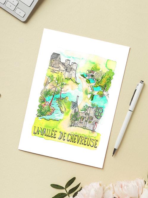 Carte 'Vallée de Chevreuse, Yvelines, France' / Carte postale A6 10x15