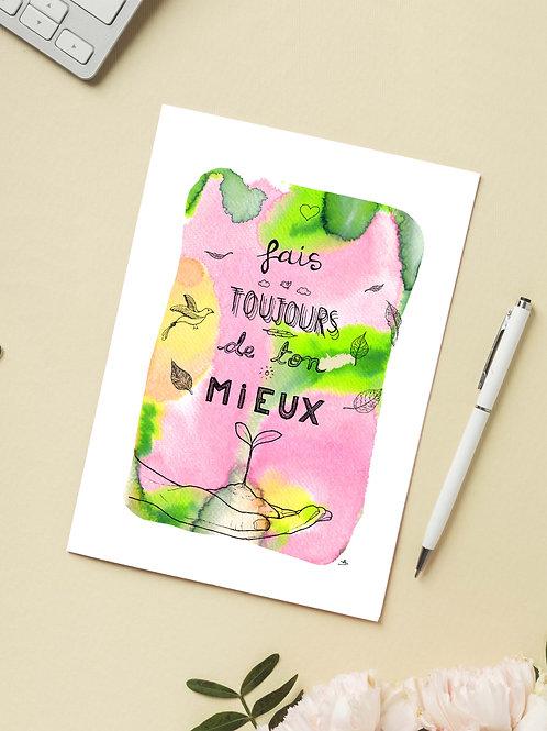 Carte 'Fais toujours de ton mieux' / Carte postale A6 10x15