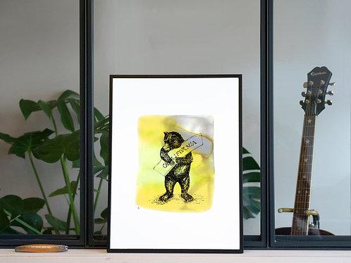 Illustration 'Ours grizzly de Californie' / Affiche 30x40