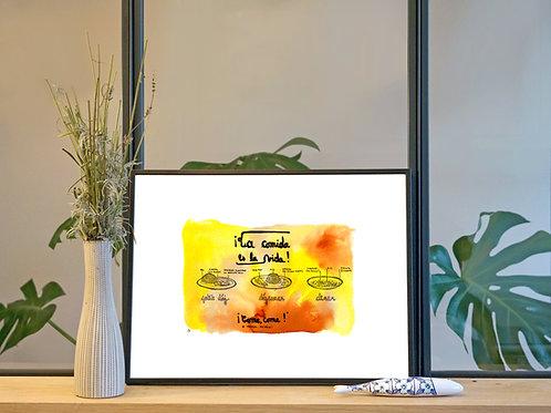 Illustration 'La cuisine c'est la vie' / Affiche 30x40