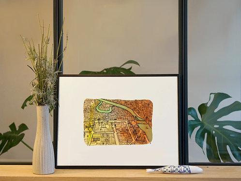 Illustration 'Plan d'une ville amazonienne' / Affiche 30x40