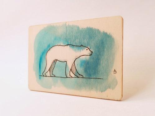 Peinture Originale sur Bois 'Ours polaire' I Petit format