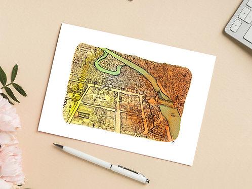 Carte 'Plan d'une ville amazonienne' / Carte postale A6 10x15