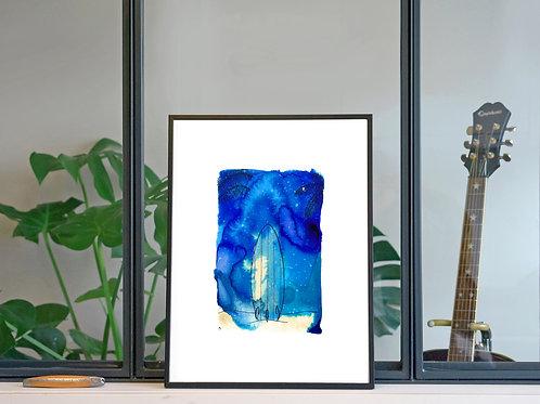 Illustration 'Surf, sous la nuit étoilée' / Affiche 30x40