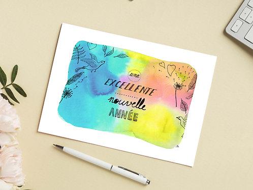 Carte 'Bonne année' / Carte postale A6 10x15