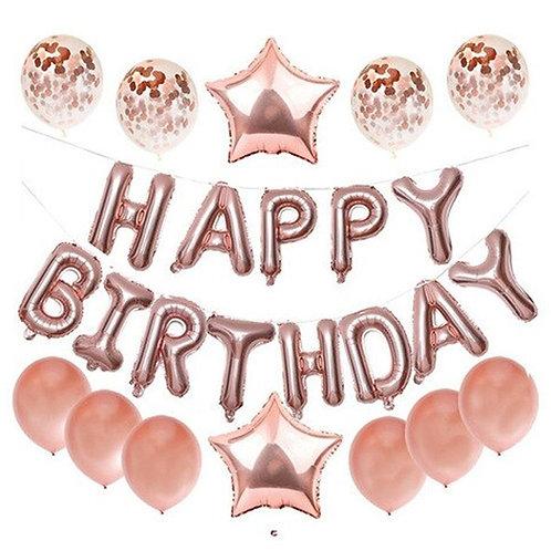 Happy Birthday balloons - Cream