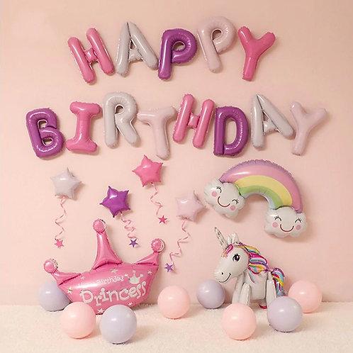 Happy Birthday balloons - Unicorn