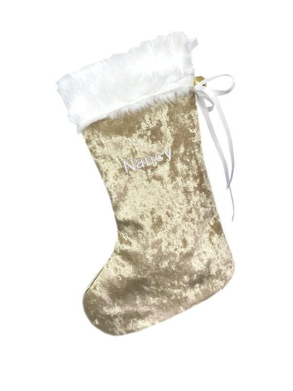 Grey Christmas Stockings Personalised.Personalised Christmas Stocking Gold With White Embroidery