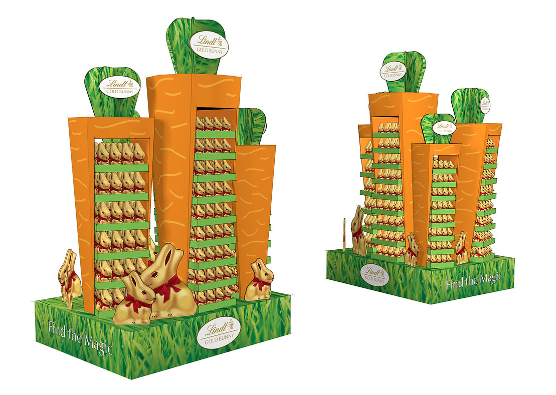 Lindt Gold Bunny Easter promotional pallet display