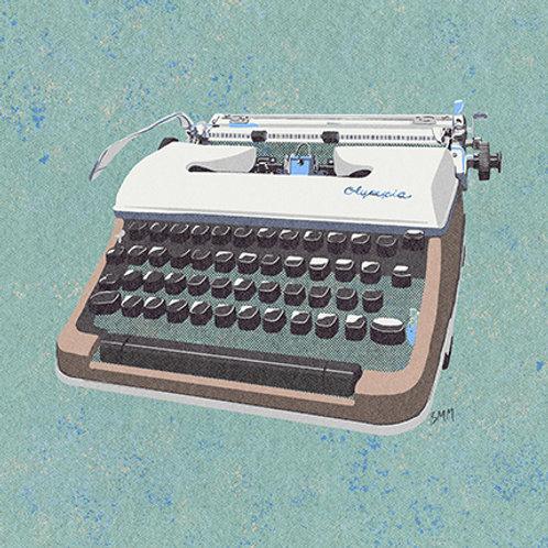 Typewriter print - Blue Qwerty