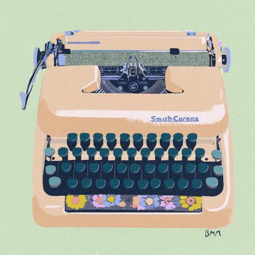 Typewriter print - Yellow Floral