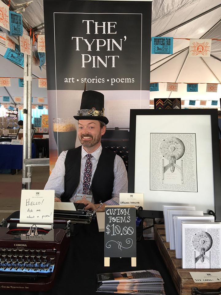 Bryan at the Typin' Pint booth