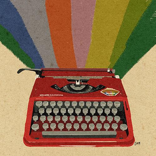 Typewriter print -Rainbow Olivetti