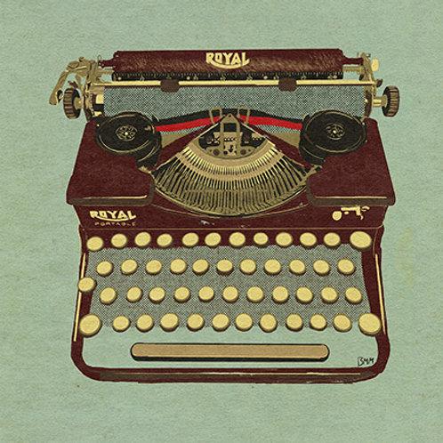 Typewriter print -Maroon Royal