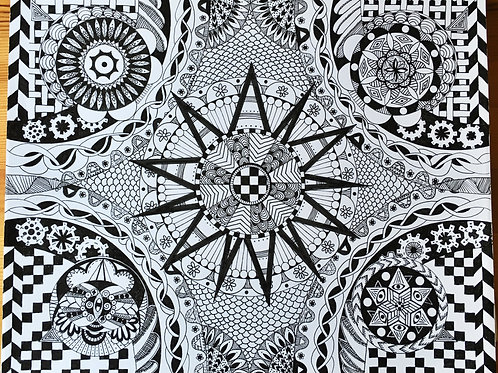 """""""Four Thoughts"""" Zentangle print"""