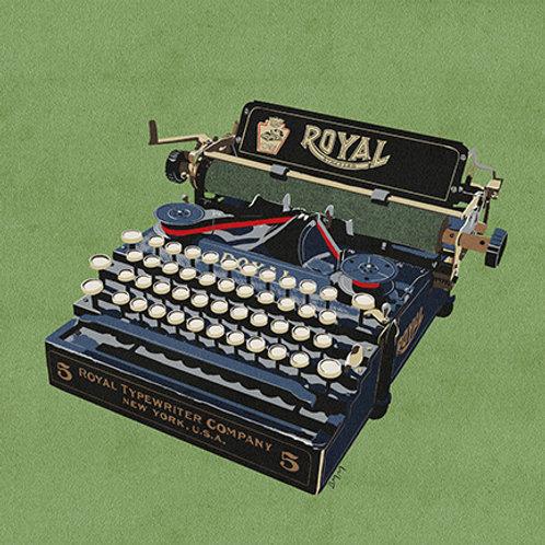 Typewriter print - Blue and Yellow Royal