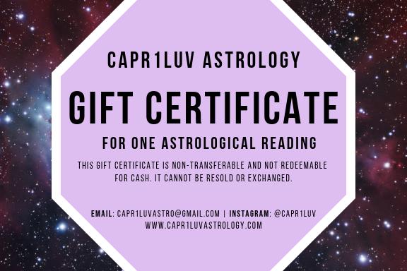 Basic Astrology Reading Gift Certificate