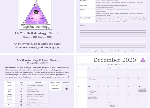 13-Month General Astrology Calendar & Planner + 30-Minute Moon Sign Reading