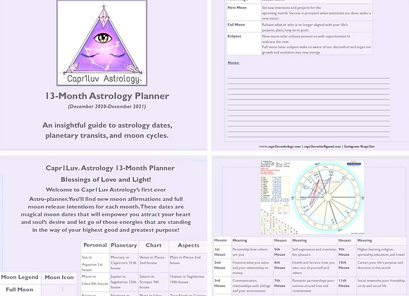 13-Month PERSONALIZED Astrology Calendar & Planner ONLY