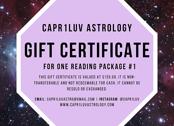 Reading Package #1 Gift Certificate