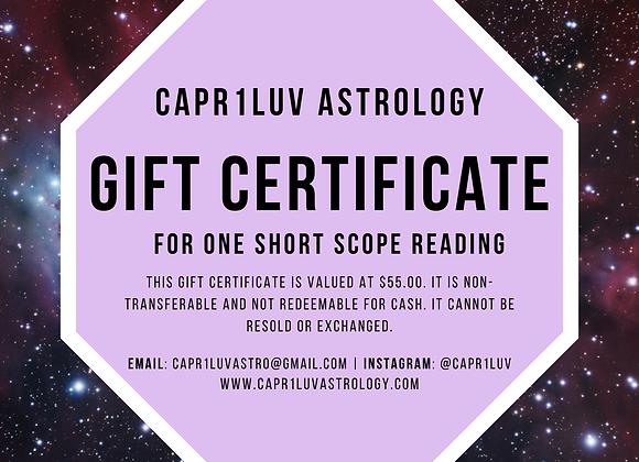 Short Scope Reading Gift Certificate