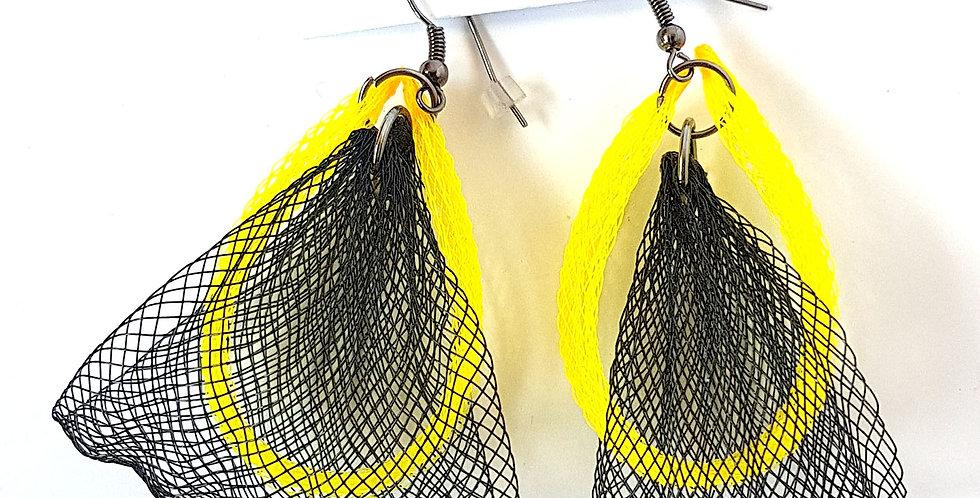 Серьги из сетки Лилия двойные черно-желтые