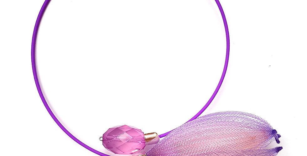Чокер из сетки Лилия сиренево-персиковый