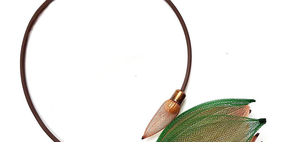 Чокер из сетки Лилия зелено-коричневый