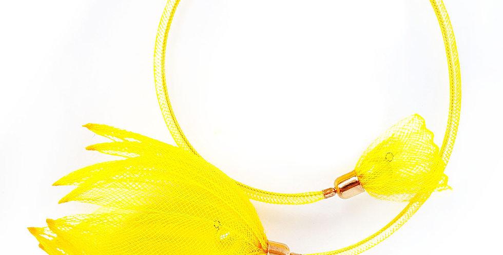 Чокер из сетки Лилия желтый