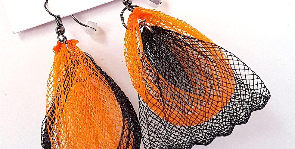 Серьги из сетки Лилия двойные черно-оранжевые