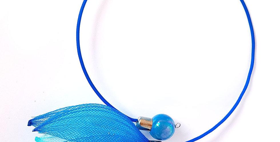 Чокер из сетки Лилия сине-голубой
