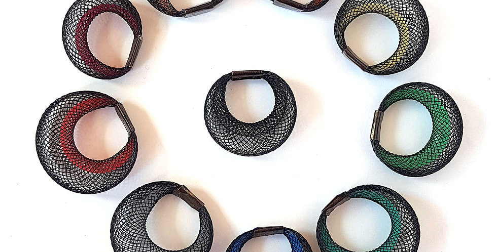 Кольцо из сетки Двойное черное