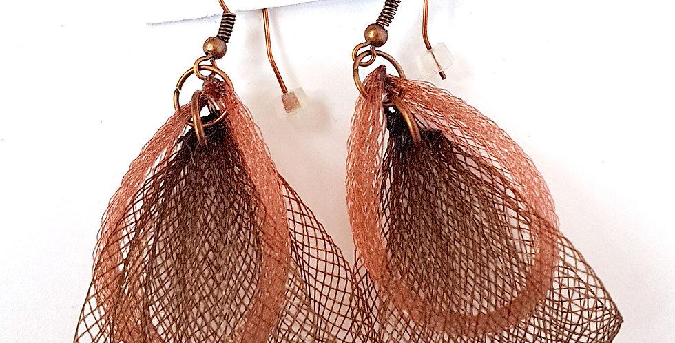 Серьги из сетки Лилия двойные темно-коричнево-коричневый