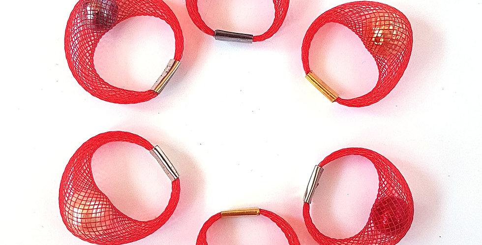 Кольцо из сетки Спутник красное