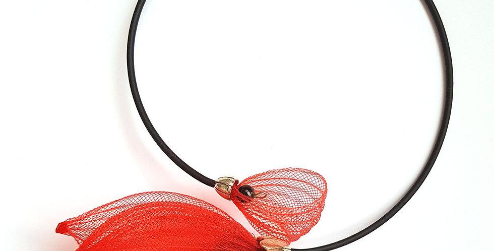 Чокер из сетки Лилия красный с черным