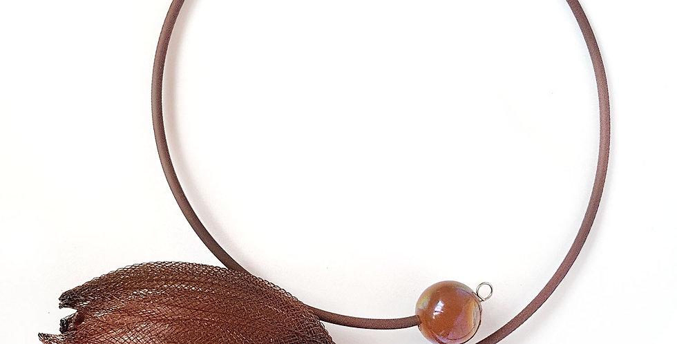 Чокер из сетки Лилия кофейно-коричневый