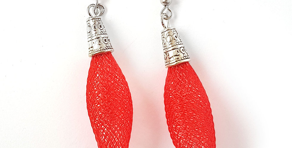 Серьги из сетки Кокон красные под серебро