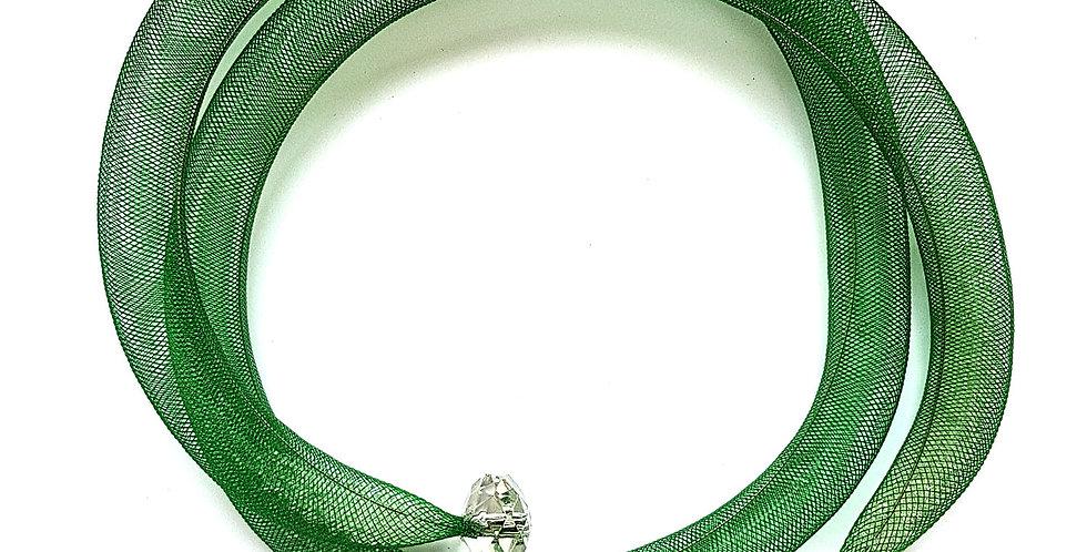 Чокер из сетки в два оборота Зеленая россыпь