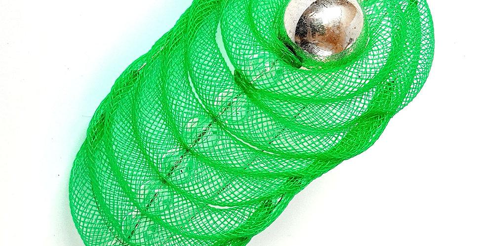 Брошь из сетки Перо зеленый