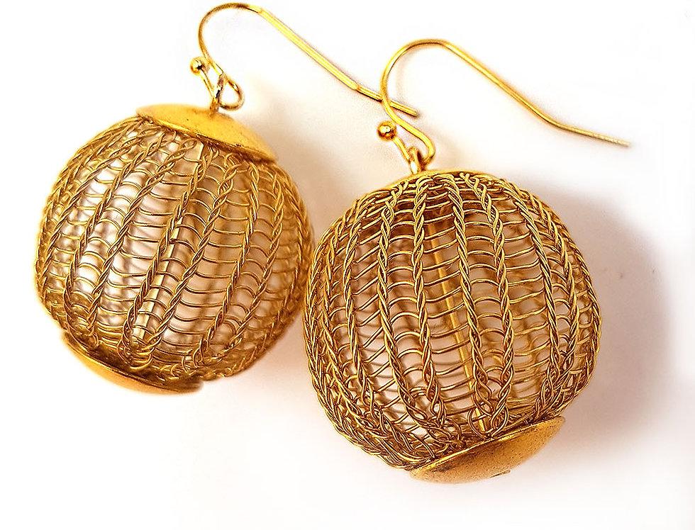 Серьги-шарики из проволоки