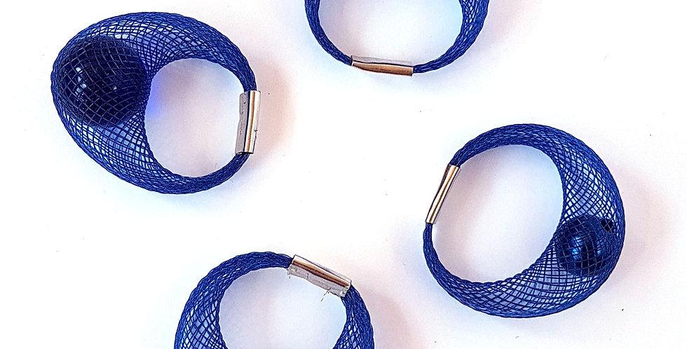 Кольцо из сетки Спутник темно-синее