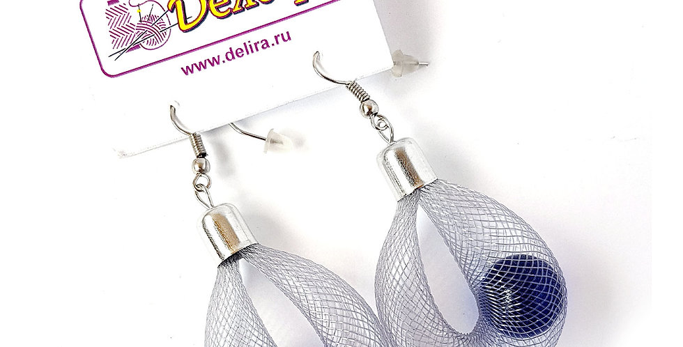 Серьги Удачный улов серые с синим под серебро