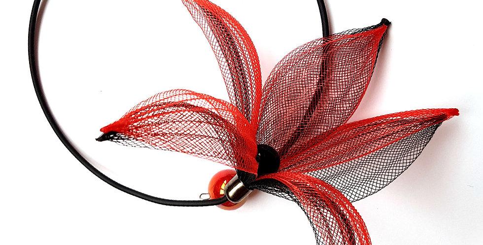 Чокер из сетки Лилия черно-красный