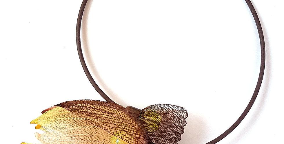 Чокер из сетки Лилия кофейно-коричнево-золотистый