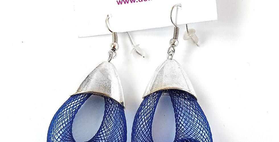 Серьги Удачный улов синие под серебро