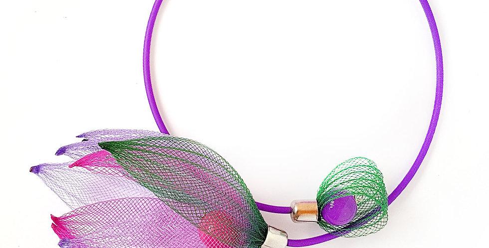 Чокер из сетки Лилия зелено-сиренево-фуксия